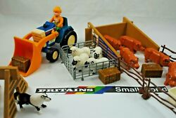 Britains Small World Farm W/ 5 X Pigs And 4 X Sheep, Sheep Dog, Farmer And Tractor