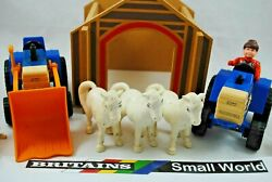 Britains Small World Farm W 3 White Horses, Farmer, Tractor Loader And Tractor