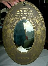 Antique Art Nouveau Bakery Confectionery Store Display Ad Mirror Sign Milwaukee