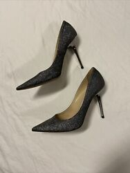 Jimmy Choo Abel Anthracite Glitter 8.5/38.5 Womenandrsquos Shoes