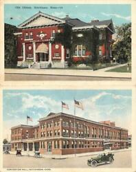 Hutchinson Kansas Ks City Library And Convention Hall Two 19291917 Postcards