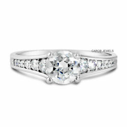 Pave Accents Engagement Ring 10k White Gold 1ct Round Colorless Moissanite Ring