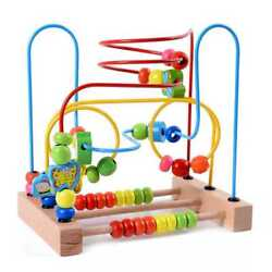 5xmwz Wooden Baby Toddler Toys Circle First Bead Maze For Boys Girls C1w5