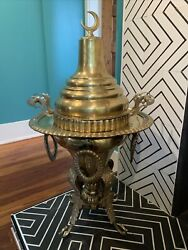 Antique Islamic Brass Brazier From The Middle East