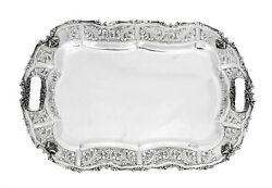 Italian 925 Sterling Silver Chased Leaf Swirl Heavy Ornate Rectangle Tray