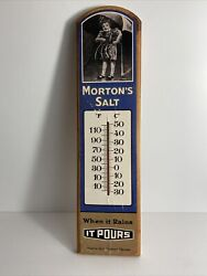 Morton's Salt Wooden Wall Thermometer When It Rains It Pours Collectible