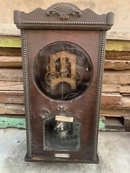 Antique Old Collectible Made In Usa Wood Case Ansonia Brand Pendulum Wall Clock