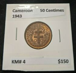 Cameroon 1943 50 Centimes Km 4