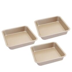 10x3 Pcs 8-inch Square Cake Pan Non-stick Bakeware For Oven