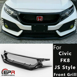 Js Style Frp Unpainted Front Grill Meshe Cover For Honda 17-19 Civic Typ-r Fk8