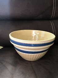 Vintage Yellow Ware 9 1/4andrdquo X 5andrdquo. Blue White Yellow Bands. Perfect Condition