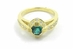 Emerald Ring With Diamonds Set In 14k Yellow Gold Size 7.25