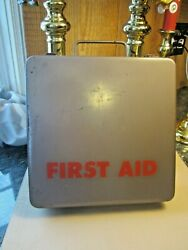 Large Vintage Metal First Aid Kit Box Medical Supply Company Brand Antique