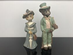 Sarahs Attic Limited Edition Figurine Messielur And Pierre Victorian Cats 1989