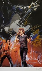 Ronnie Wood Weaving Mick Jagger Hand Signed Rolling Stones Screenprint