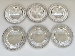 Towle Louis Xiv Antique Sterling Silver Bread Butter Plates 6 Mono C - Ex Cond