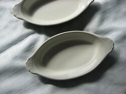2 Hall 528 Green Serving / Souffle Dishes Vintage Collectible