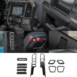 For Ford 15-20 F150 Carbon Look Center Air Vent+door Handle+gear Shift Knob Trim