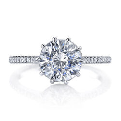 Round Shape 1.50 Ct Diamond Engagement Ring Solid 18k White Gold Rings Size 8 9
