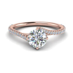 0.83 Ct Real Diamond New Design Engagement Ring Solid 14k Rose Gold Size 6 7 8 9