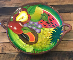 """Vintage Mexican Red Clay Large Fruit Bowl With Handles 18"""" Mexican Folk Art Bowl"""