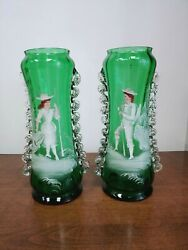 Pair Emerald Green Mary Gregory Style Applied Glass Handpainted Victorian Vases