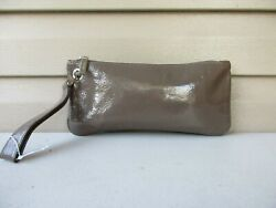 Hobo International Zoe Large Taupe Patent Leather Wristlet Cards $34.90