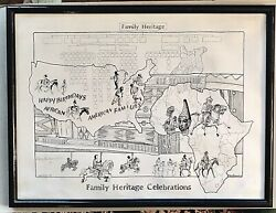 Original Signed Maceo Leatherwood Print Poster African/native American Family