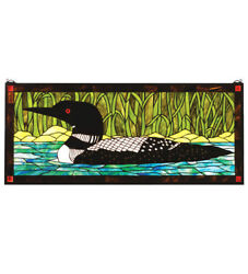 Collectible, Stained And Leaded Glass Loon Window, On Golden Pond Inspired