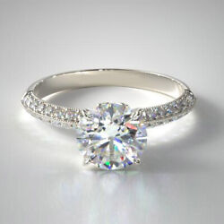 0.95 Ct Real Diamond Proposal Rings For Women Solid 18k White Gold Ring Size 6 7