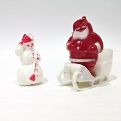 Rosen/rosbro Vintage Christmas Styrene Candy Containers - Santa And Snowman