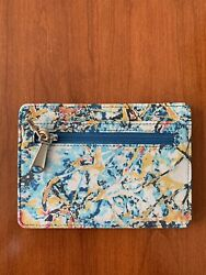 NWT Hobo International Euro Slide Leather Card Wallet Passport Holder Abstract $39.95