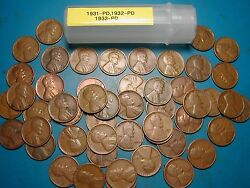 1931-pandd, 1932-pandd, 1933-pandd Lincoln Wheat Cent Roll, 50 Coins, Tough Dates