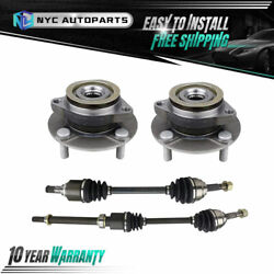 4pc Front Cv Axle And Front Wheel Hub Bearing For 2007-2009 2010 2011 Nissan Versa