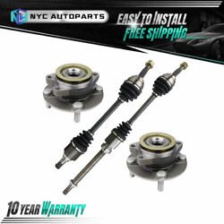 2 Front Cv Axle + 2 Front Wheel Hub Bearing For 2009 10-2014 Nissan Cube W/ Cvt