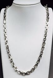 10k Solid White Gold Handmade Link Menand039s Chain/necklace 20 80 Grams 6.5mm