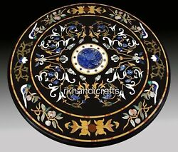 48 Inches Marble Restaurant Table Handmade Dining Table Top With Antique Work