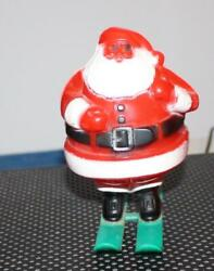 Vintage Rosbro Santa On Skis Hard Plastic Candy Container