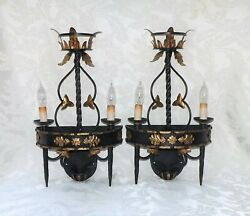 Currey And Company Italian Black Metal Gold Gilt Tole Torch Light Wall Sconces