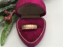 Antique 14k Rose Gold Hand Wrought Design Ring Band 1800s