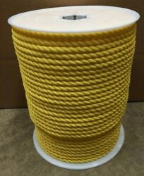 5/8 X 600and039 Yellow Polypropylene Rope Poly Boat Dock Work Tree 3-strand Twisted
