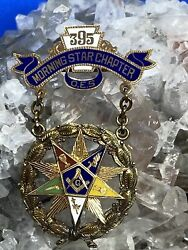 Vintage 14k Yellow Gold And Enamel Masonic Medal Pin From 1926