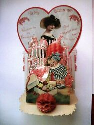 Adorable Pull- Down Vintage Valentine W/ Girl Taking A Piece Of Candy From Box