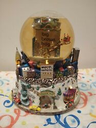 Bloomingdales Big Brown Bag Central Park Twin Towers Musical Snow Globe. Lighted