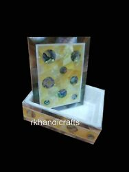 Mother Of Pearl Art Brooch Box Handmade Stone Watch Box For Friend 4 X 3 Inches