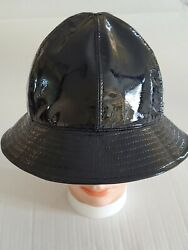 AUTHENTIC NEW CHANEL BUCKET LOGO HAT BLACK PATENT LEATHER SIZE 59 $399.00