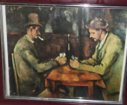 Framed Print Of Vintage Scene Of Two Men Playing Cards 11 1/2 X 9 1/2