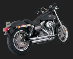 Exhaust System 2-into-2 Big Shots Staggered Chrome - Harley Davidson Dyna Bob...
