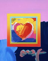 Heart On Blends Ii Original Mixed Media Painting Peter Max - Signed