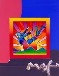 Cosmic Flyer With Sun On Blends Mixed Media Painting Peter Max - Signed